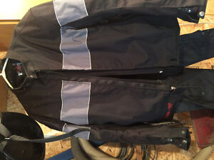 Power Trip 2XL riding jacket and chaps and 2 helmets