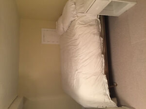 Queen size bed frame, box spring and mattress