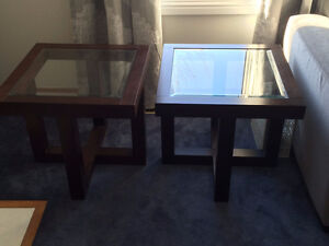Solid Oak End Tables with Glass Top