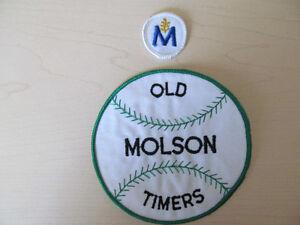 2 ECUSSON PATCH MOLSON BEER BIERE BASEBALL