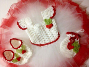 Holly Jolly crocheted dress tutu set size 18-24 months