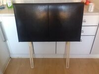 Single headboard black leather