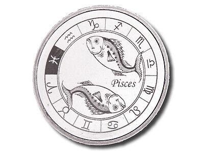 Zodiac Horoscope   Pisces   1 Oz  999 Silver Bu Round Usa Made Bullion Coin