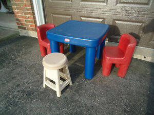 Little Tikes Table with Two Chairs and a Stool