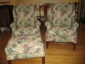 2 Wingback Chairs with matching Ottoman