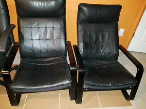 2 black leather Ikea poang chairs