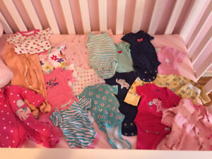Newborn girl baby clothes, sleepers long & short sleeved!