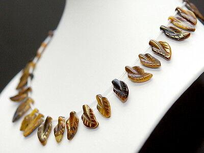 Tigerauge Kette ohne Verschluss, Blätter ca. 10x18 mm goldbraun, 30 Steine /4512