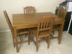 table and chair set with two stools