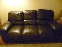 Brown leather sofas x2