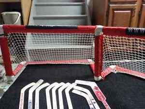Mini stick nets, mini sticks and goalie gloves