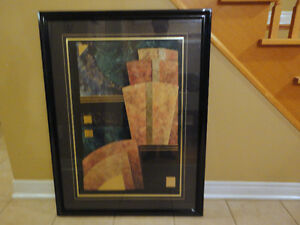 Large decorative black wooden framed abstract print wall hanging London Ontario image 1