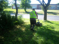 mowing lawns  today