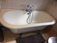 Cooke & Lewis B&Q Duchess Acrylic Oval Freestanding Bath - Roll Top, Claw Feet, Mixer Taps