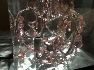 Beautiful silver chandelier with pink crystals - new in box
