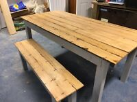 Lovely oak dinning table and benches