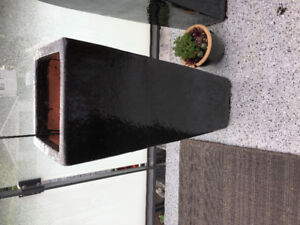 """Three Black outdoor Pottery Pots - 35"""" tall, square, tapered"""