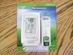 Acu Rite Thermometer with clock. Indoor/Outdoor Temperature 165' Max Range
