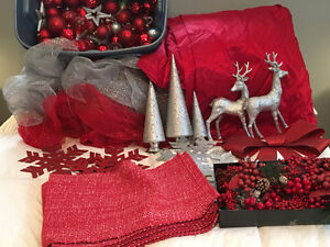 Christmas Decor Lot - Matching Red and silver
