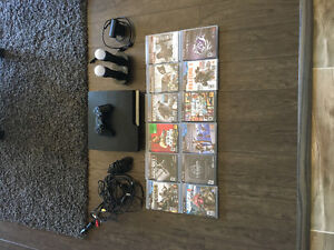Perfect gift PS3, with 1 remote, PS Move and many games