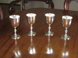 VINTAGE SILVER PLATE WINE GOBLETS