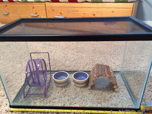 Glass tank with hampster accessories