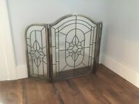 Decorative Glass Fireplace Screen