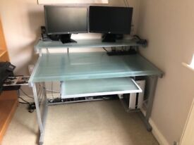 John Lewis Glass Desk with shelf and keyboard tray