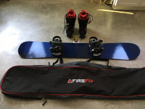 Liquid Snowboard, Boots, and Carry Case
