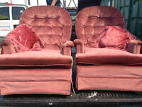Pair Of Matching Rose Velvet Swivel/Rocking Chairs