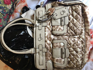 beige and light brown leopard print guess purse