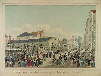 HAMBURG HOPFENMARKT PETER SUHR ALTKOL. LITHOGRAPHIE ANSICHT 1840 H22