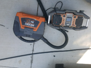 Ridgid radio and 18volt wet dry shop vac