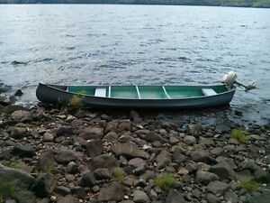 Grey16 foot aluminum canoe