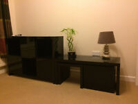 Next Opus Black Gloss Sideboard and Coffee Table Nest of 3