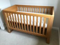 Mamas and papas cot bed with mattress