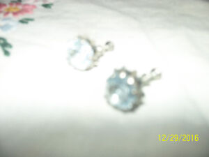 vintage silver with blue stone screw on earrings