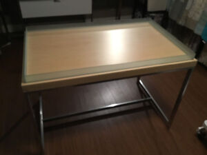 Still available. Solid retail table for sale only 60$
