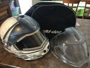 BRP Ladies skidoo helmet with heated visor and carrying bag.