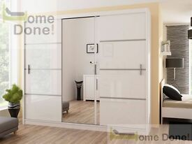 **FREE UK DELIVERY**Victor Sliding Door Wardrobe -High Gloss and Matt -QUICK DELIVERY