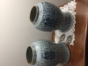 2 old double happiness Chinese vases