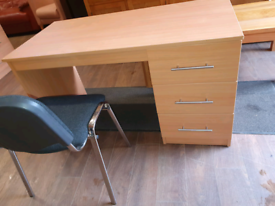 73. Beechwood desk and chair