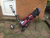 Golf clubs with stand bag & trolley