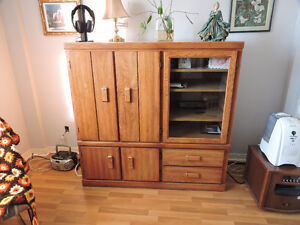 Oak Veneer Entertainment TV Stand