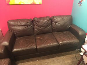Leather Love Seat and Sofa Brown Must Go by Saturday