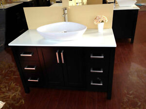 """48"""" Solid Wood Bathroom Vanity with Mirror and Faucet"""
