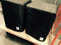 "Logic System 15"" 600w bass cabs. Pair in VGC. C/w covers"