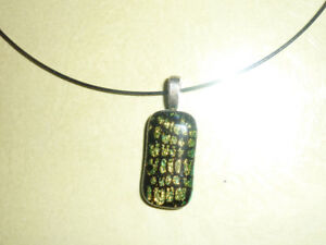 Dichroic glass Necklace - Handmade - Plus free pearl necklace