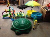 Kids toy bundle garden toys sandpit water table scuttle bug ballpalloza trampoline