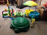 Kids toy bundle garden toys sandpit water table scuttle bug ballpalloza trampoline